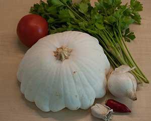 Zutaten für eine Kürbissuppe (Eigenkreation)