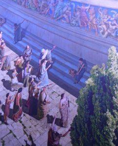 Blick auf die äußeren Bereiche des Pergamon-Tempels mit seinen bunt angemalten Statuen